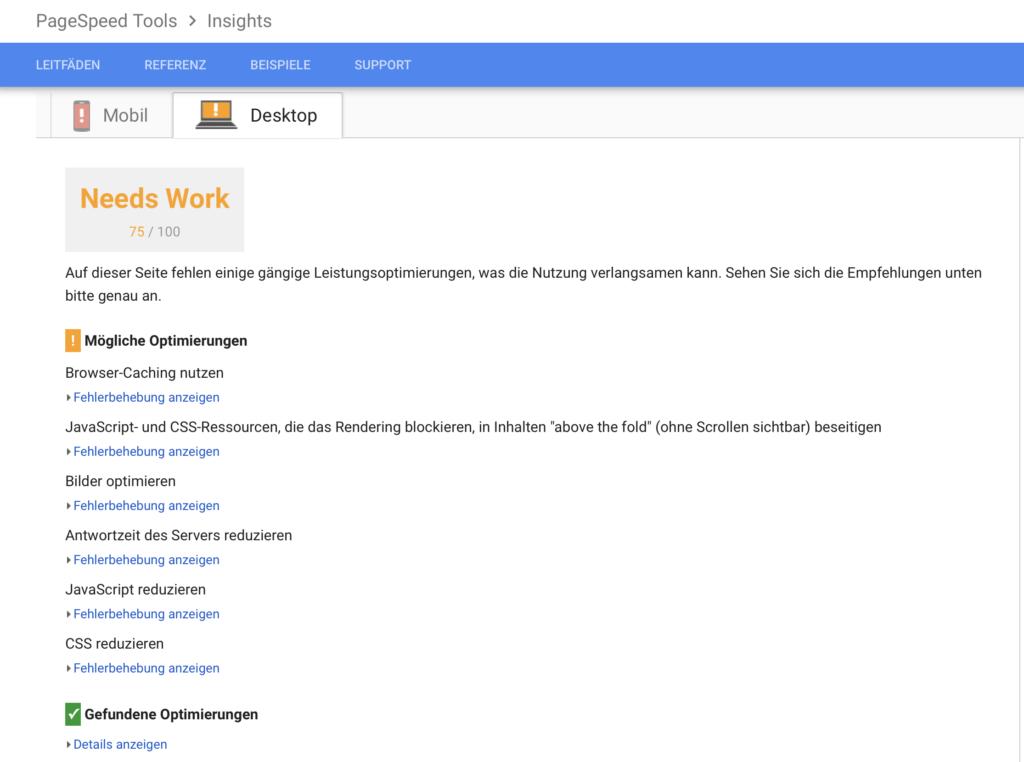 PageSpeed Tools Screenshot