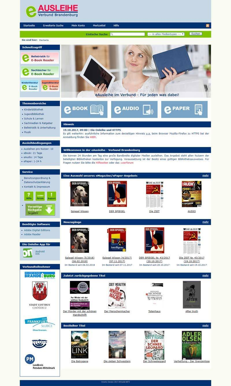 Layout Webdesign  E-Ausleihe Brandenburg