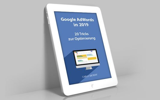 "E Book ""Google Ads in 2019"" auf Tablet"