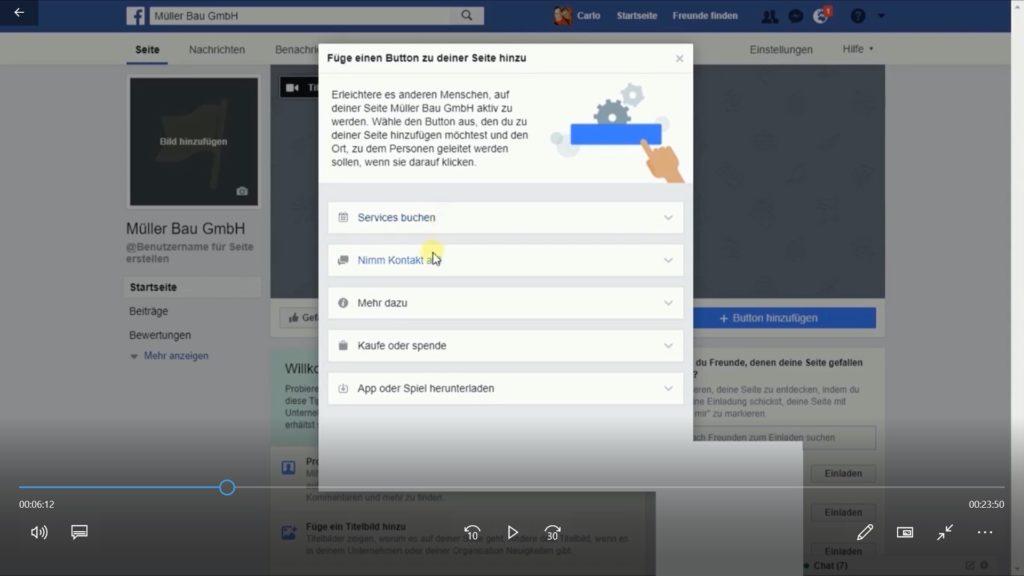 Auswahlmöglichkeiten der Buttons beim Erstellen der Facebook Seite