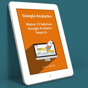 Tablet mit E-Book-Cover - Google Analytics