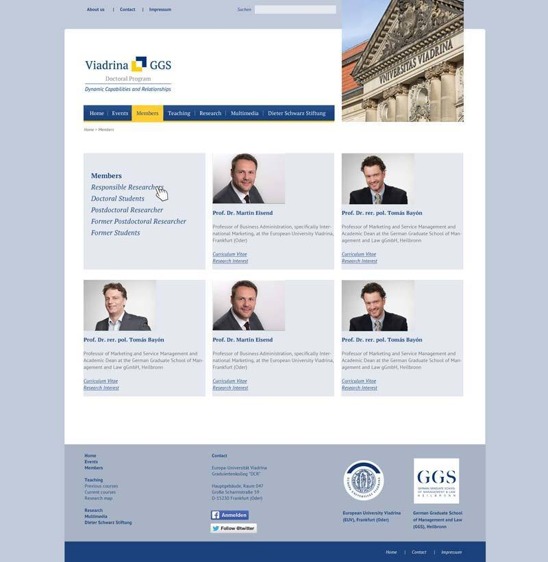 Layout Webdesign Members GGS Uni Viadina