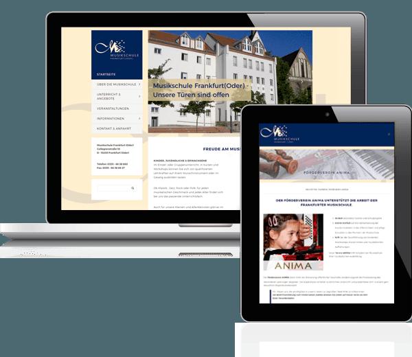 Refrerenz Webdesign Musikschule Frankfurt Oder