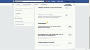 Einstellungen zu Deinen Nachrichten bezüglich Deiner Facebook Seite.