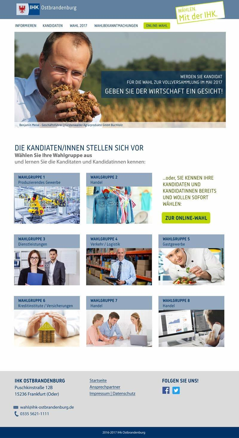Layout Webdesign Wahl IHK-Ostbrandenburg
