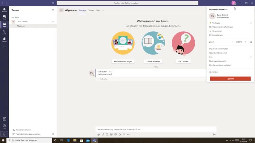 Einstellung Konto Microsoft Teams
