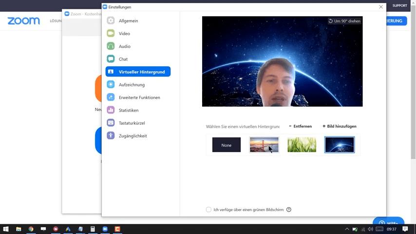 virtuellen Hintergrund in Zoom aktivieren