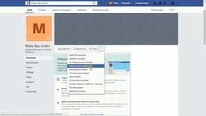 Auf Deiner Startseite unter dem Titelbild stellt Dir Facebook noch weitere Einstellungen zur Auswahl.